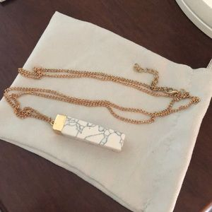 Gold long marble necklace